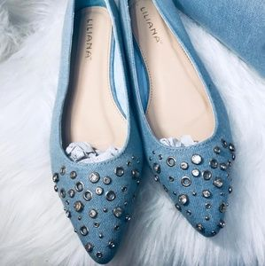 🆕️Light Denim Studded Pointy Toe Flats
